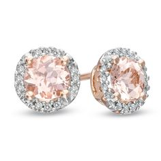 These are gorgeous! 5.0mm Morganite and Diamond Accent Frame Stud Earrings in 10K Rose Gold - Zales