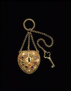 1840 - The padlock reflects the convention suggesting 'you have the key to my heart'. The sentiment is further reinforced by the choice of coloured stones, which have initial letters that spell 'REGARD': ruby, emerald, garnet, amethyst, ruby and diamond.