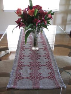 Table Runner done with Swedish Weaving on Grey Monk's Cloth and Cranberry Yarn