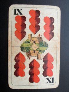 Antique Playing Card - hearts, Ferdinand Piatnik, red, IX, castle by TrunkGypsies on Etsy https://www.etsy.com/listing/175216057/antique-playing-card-hearts-ferdinand
