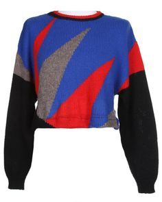 Rokit Recycled Black Blue Red & Grey Cropped Knit Jumper - XL
