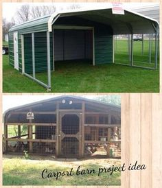 Building a Chicken Coop Carport barn, I really like this idea for a Turkey pen. Building a chicken coop does not have to be tricky nor does it have to set you back a ton of scratch. Chicken Coop Plans, Building A Chicken Coop, Chicken Coops, Chicken Pen, Backyard Farming, Chickens Backyard, Home Renovation, Horse Shelter, Goat Barn