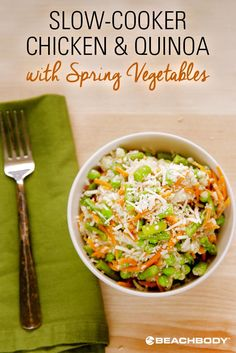 This slow cooker chicken recipe with quinoa and spring vegetables is light, but hearty. As the chicken gently cooks it becomes extremely tender and juicy, making it perfect for a quick and easy lunch or dinner. // healthy recipes // crock pot recipes // Beachbody // BeachbodyBlog.com