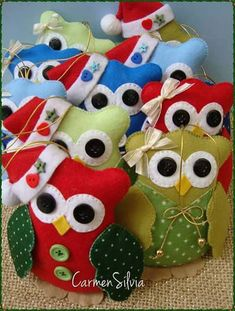 Moldes buhos navideños en fieltro gratis02