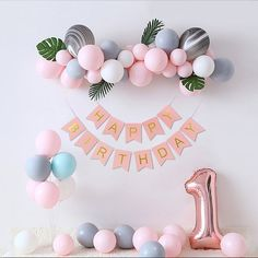 Happy Birthday Decor, 1st Birthday Girl Decorations, 1st Birthday Party For Girls, Balloon Decorations Party, Balloon Garland, Diy Birthday, Birthday Party Themes, Diy Balloon, Rainbow Balloon Arch