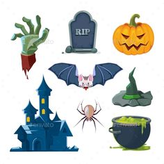 Buy Vector Illustration of Halloween Icons Set by Alex_cardo on GraphicRiver. vector illustration of Halloween icons set isolate on white background. Cute Halloween Images, Halloween Doodle, Halloween Icons, Halloween Vector, Creepy Halloween, Vintage Halloween, Halloween Party, Icon Set, Trick Or Treat