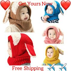 7c9a5adb936 GoBabyOnlineKnitted Hat Rabbit Ears with Hooded Scarf