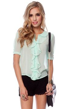 mint blouse.