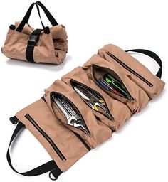 Multi-Purpose Tool Roll Up Bag Wrench Roll Pouch Hanging Tool Zipper Carrier Tote Canvas Car Organizer 5 Pockets Portable Tool Organization, Tool Storage, Bag Storage, Tool Tote, Tool Pouch, Wrench Roll, Tool Roll Bag, One Bag, Waxed Canvas