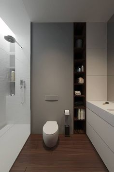effective use of wall and mirroring of that in shower indent shelving