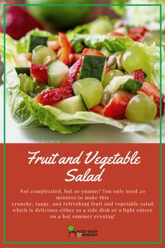 The best fruit and vegetable salad is perfect for summer picnics #dizzybusyandhungry #salads #fruits #fruitsalad #vegetables #picnicfood Vegetable Recipes For Kids, Roasted Vegetable Recipes, Vegetable Salad, Vegetable Side Dishes, Summer Salads With Fruit, Fresh Fruit Salad, Fruit Recipes, Cooking Recipes, Healthy Recipes