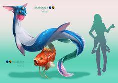 ArtStation - realistic Pokémon - Dragonair and Magikarp, Alessandro Tabozzi Pokemon Go List, Pokemon In Real Life, Monster Hunter, Geeks, Pikachu, Pokemon Breeds, Dragonair, Pokemon Fan Art, Fantasy Dragon