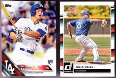 LOT OF 2 LOS ANGELES DODGERS JULIO URIAS THE PROSPECTS & COREY SEAGER TOPS #LosAngelesDodgers