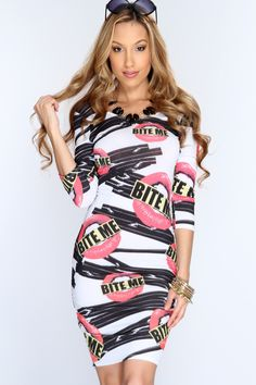 Explore unique style with this one of a kind look! Become the center piece at your next party/event and add it to your collection! Everyone will ask wherever you shop when your seen in this look! It features printed design, scoop neck, quarter sleeves, scoop back, and tight fitted. 95% Polyester 5% Spandex. Made n USA.