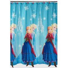 Disney Frozen Bathroom Ideas-blue shower curtain