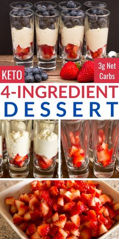 A quick and easy keto dessert with a 3 ingredient mascarpone mousse. It's also the perfect red, white, and blue low carb treat for July # Food and Drink health Keto Mascarpone Dessert Mini Desserts, Low Carb Desserts, Easy Desserts, Low Carb Recipes, Easy Keto Recipes, Quark Recipes, Ketogenic Desserts, Elegant Desserts, Plated Desserts