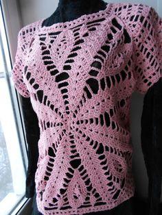 Crochet Dress Crochet Tunic Crochet Top Pink by idafrompushkin