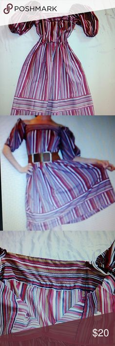 """Vintage puffy sleeve boho hippie dress stripe Poofy sleeve 1970s polyester dress. Belt not included. 39"""" long. unknown vintage free people style  Dresses Midi"""