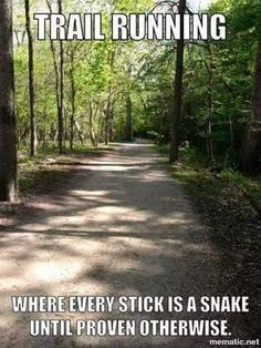 Running Humor Trail running. Where every stick is a snake until proven otherwise.You can find Running . Running Humor, Gym Humor, Workout Humor, Running Workouts, Funny Running Memes, Fitness Humor, Workout Fitness, Workout Sayings, Bike Humor