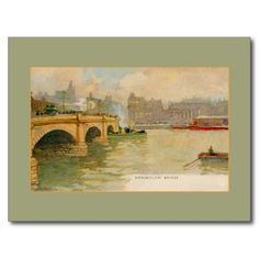Vintage watercolor Broomielaw bridge Glasgow (by Henri Cassiers) postcards and greeting cards