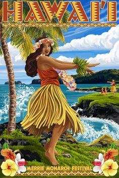 Hula Girl on Coast - Aloha Hawaii - Lantern Press Artwork Giclee Art Print, Gallery Framed, Espresso Wood), Multi Hawaiian Art, Vintage Hawaiian, Hawaiian Designs, Hawaiian Decor, Hawaii Hula, Aloha Hawaii, Honolulu Hawaii, Hawaii Life, Hawaii Vacation