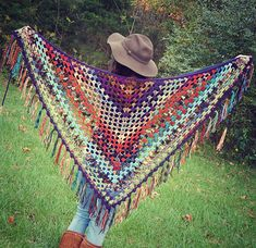 Big scrappy granny shawl great for using up spare balls of yarn!
