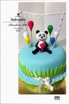 """Bolo 1"""" aniversário  Panda"""