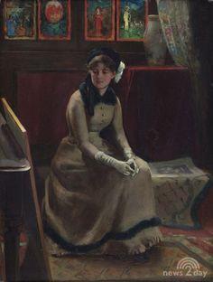 Frederick Warren Freer - choosing a title (oil on panel, 1882)