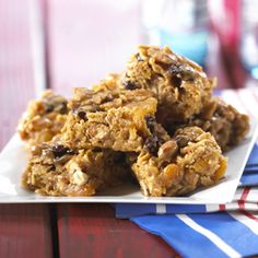 PB Bars - a perfect on-the-go snack. Brownie Recipes, Cookie Recipes, Snack Recipes, Dessert Recipes, Snacks, Bar Recipes, Dessert Bread, Dessert Bars, Cookie Brownie Bars