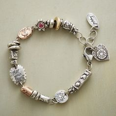 """REACH FOR THE STARS BRACELET--Jes MaHarry's high-spirited bracelet brings together hand-etched sterling silver, 14kt rose and yellow gold charms with sparkling stones—diamond, blue topaz and pink tourmaline. Sterling clasp. USA. Exclusive. 7-1/2"""" to 8-1/2""""L."""