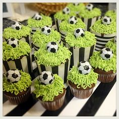 Soccer theme cup cakes for my son:)