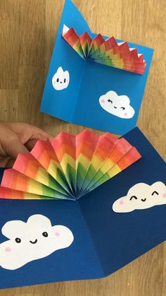 "Send a Rainbow Card! Learn how to make a pop up rainbow card! A perfecr 3d Birthday Card, Get well soon card or ""just because"" card! Who doesn't love a fun pop up card through the post. These 3d paper Rainbows are easy to make and oh so cute. Best boredom buster for your staycation! Paper Crafts For Kids, Craft Activities For Kids, Diy For Kids, Fun Crafts, Craft With Paper, Kids Arts And Crafts, Simple Crafts For Kids, Diy Paper Crafts, Easy Preschool Crafts"
