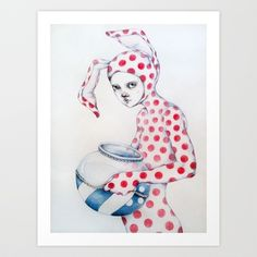Red Dot Bunny Art Print by Zina Nedelcheva - $19.76