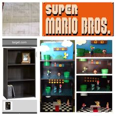 Super Mario Bros. Playset:    An inexpensive shelf combined with a bit of creativity = one cool playset!  PVC pipe from home improvement store, some acrylic paint and a bit of woodwork goes a long way.