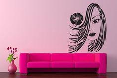 Beauty Salon Girl Sticker Girl Head Flower Wall Decal SPA Mural Gift #151 #HomeOfStickers