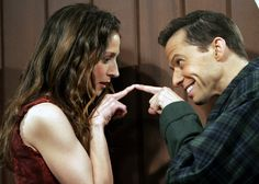 Marin Hinkle and Jon Cryer on Two and A Half Men Two And Half Men, Half Man, Two By Two, Jon Cryer, Marines, Comedy, Tv Shows, Scene, Stars