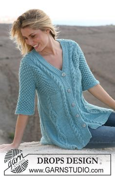 Free knitting patterns and crochet patterns by DROPS Design Loom Knitting, Knitting Stitches, Knitting Patterns Free, Knit Patterns, Free Knitting, Free Pattern, Moda Crochet, Knit Crochet, Knit Jacket