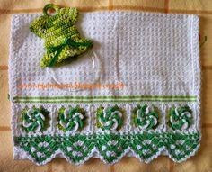 """Crochet et Tricot da Mamis: Pano de Copa com Barrado """"Flores"""" em Crochet- Novas Cores"""