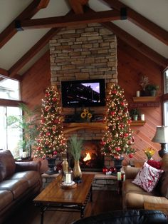 Love the stone fireplace with open beam. #fireplace  www.autumnglo.com