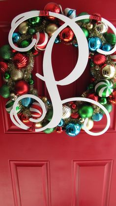 Martha Stewart wreath from Home Depot and the Monogrammed letter was purchased from Etsy.