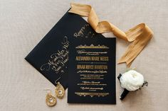 Foiled Invitations // Windsor Foiled Wedding Invitation // Foil, black, gold, elegant, ballroom, regal, invitation