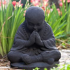 Baby Monk Buddha Statue, Volcanic Ash Black Sitting Praying Spiritual God Figurine, Indonesia Buddhist Sculpture Home Garden Outdoor Oriental Gnome Decor Prosperity Serene Peace Zen, 8 Baby Buddha, Little Buddha, Buddha Zen, Buddha Garden, Baby Brown, Meditation, Art Asiatique, A Course In Miracles, Garden Statues