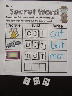 FREE Secret Word activity kids love - build the words and unscramble your leftover letters to figure out the secret word!