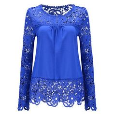 Plus Size Women Chiffon Shirt Blouse Sexy Hollow Lace Women Shirt Long Sleeved Shirt
