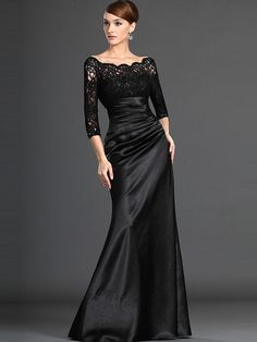 A-Line/Princess Off-the-shoulder 3/4 Sleeves Elastic Woven Satin Floor-Length Dresses