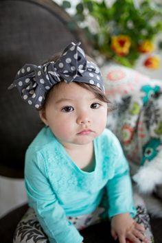 Cotton Head Wrap // Rustic Plus in Charcoal Cute Kids Fashion, Baby Girl Fashion, Cute Babies, Baby Kids, Bandanas, Baby Buffalo, Big Bows, Girls Bows, My Little Girl