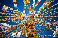 Traditionally, prayer flags are used to promote peace, compassion, strength, and wisdom. The flags do not carry prayers to gods, a common misconception; rather, the Tibetans believe the prayers and mantras will be blown by the wind to spread the good will and compassion into all pervading space. Therefore, prayer flags are thought to bring benefit to all.