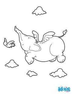 Elephant Flying coloring page. Find free coloring pages, color poster and pictures in AFRICAN ANIMALS coloring pages! Print out and color these free . Dolphin Coloring Pages, Puppy Coloring Pages, Fish Coloring Page, Coloring Books, Elephant Colour, Elephant Print, Free Printable Coloring Pages, Coloring Pages For Kids, Kids Zoo