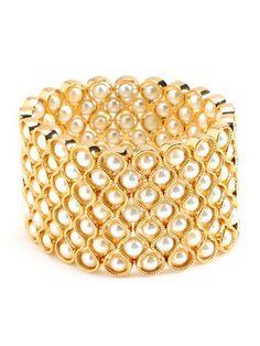 "Amrita Singh Pearl Gold Stretch Cuff Bracelet ""A Must Have"" Gorgeous NWT   eBay"