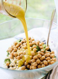 Broccoli chickpea slaw with lemon garlic dressing - cookieandkate.com